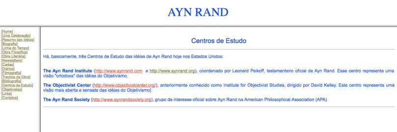 Ayn Rand Old Site - 14 - Centros de Estudo