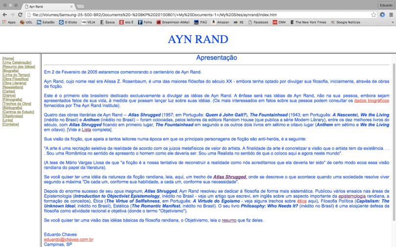 Site velho da Ayn Rand
